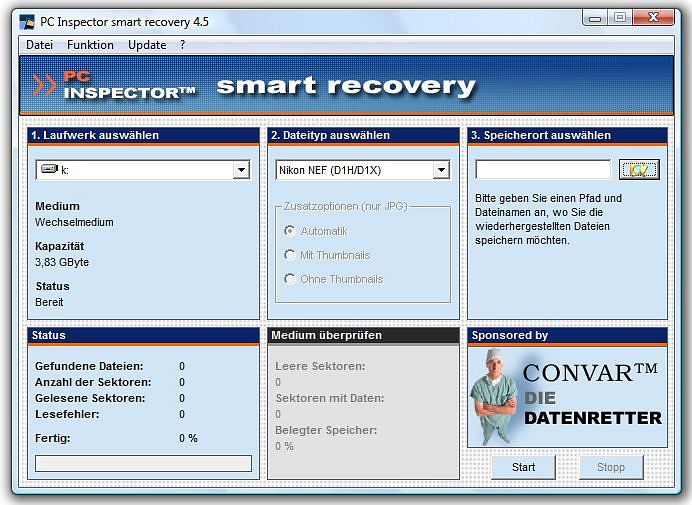 Screenshot des PC INSPECTOR smart recovery